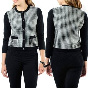 JUICY COUTURE HOUNDSTOOTH POCKET CARDIGAN SWEATER